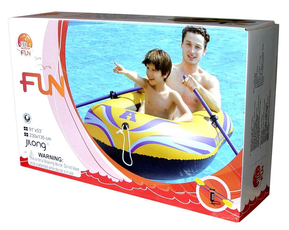 """Лодка надувная Jilong """"Atlantic Boat 300 Set"""", с веслами и насосом, цвет: желтый, 230 см х 135 см"""