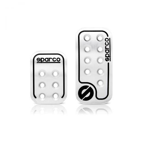 """Накладки на педали Sparco """"Racing"""", алюминиевые, цвет: серебристый, черный, 2 шт, 1/30 ( SPC/PD-RCN AL/BK (2) )"""