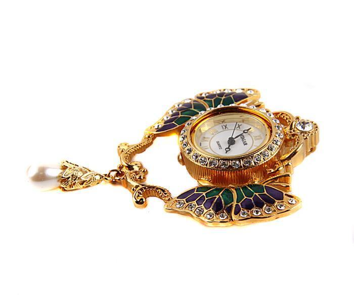 """Брошь-часы в стиле Фаберже """"Бабочки"""". Металл, эмаль, австрийские кристаллы, японский часовой механизм, искусственная жемчужина. США,"""