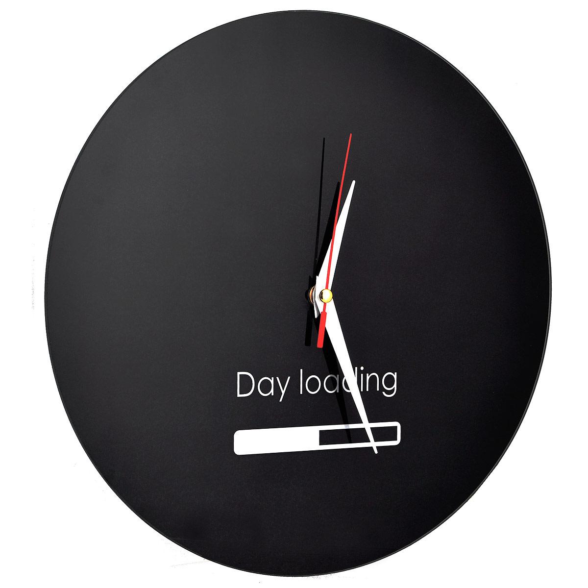 "Часы настенные ""Day Loading"", стеклянные, цвет: черный, белый. 95546"