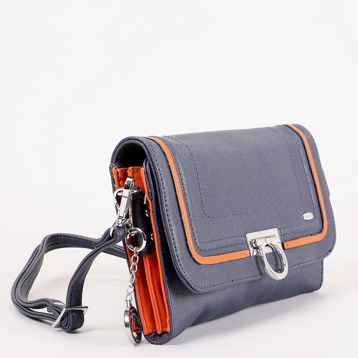"""Клатч """"Leighton"""", цвет: синий, оранжевый. 570306-3769 ( 570306-3769/4/1166/813 )"""