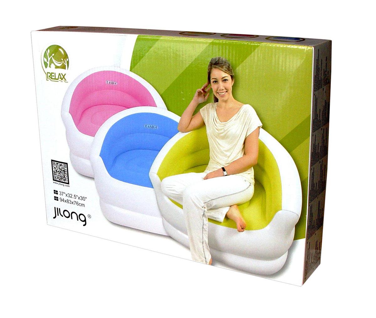 "Кресло надувное RELAX ""COLOUR SPLASH"", 94 см х 83 см х 76 см, цвет: синий, белый"
