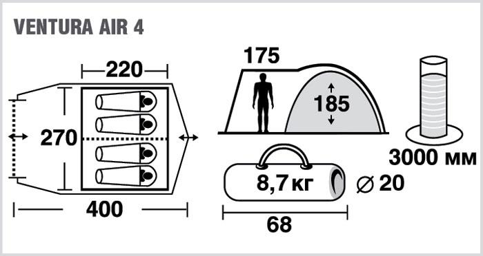 """Палатка четырехместная TREK PLANET """"Ventura Air 4"""", цвет: синий, серый ( 70230 )"""