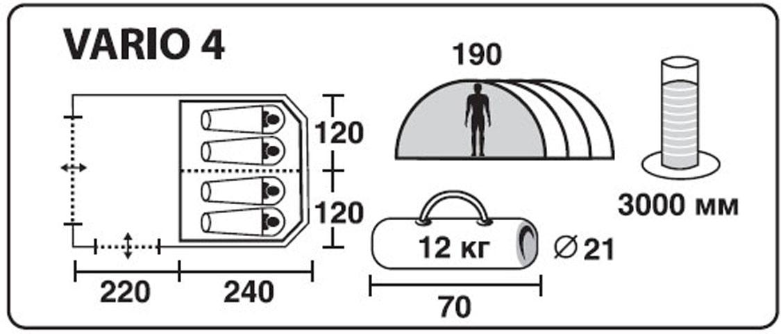 """Палатка четырехместная TREK PLANET """"Vario 4"""", цвет: песочный"""