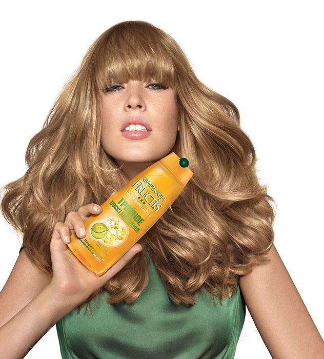 Garnier Шампунь Fructis, Тройное восстановление, укрепляющий, для поврежденных и ослабленных волос, 250 мл