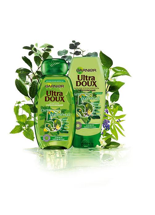 Garnier Бальзам-ополаскиватель Ultra Doux, Сила 5 растений, укрепляющий, для всех типов волос, 200 мл