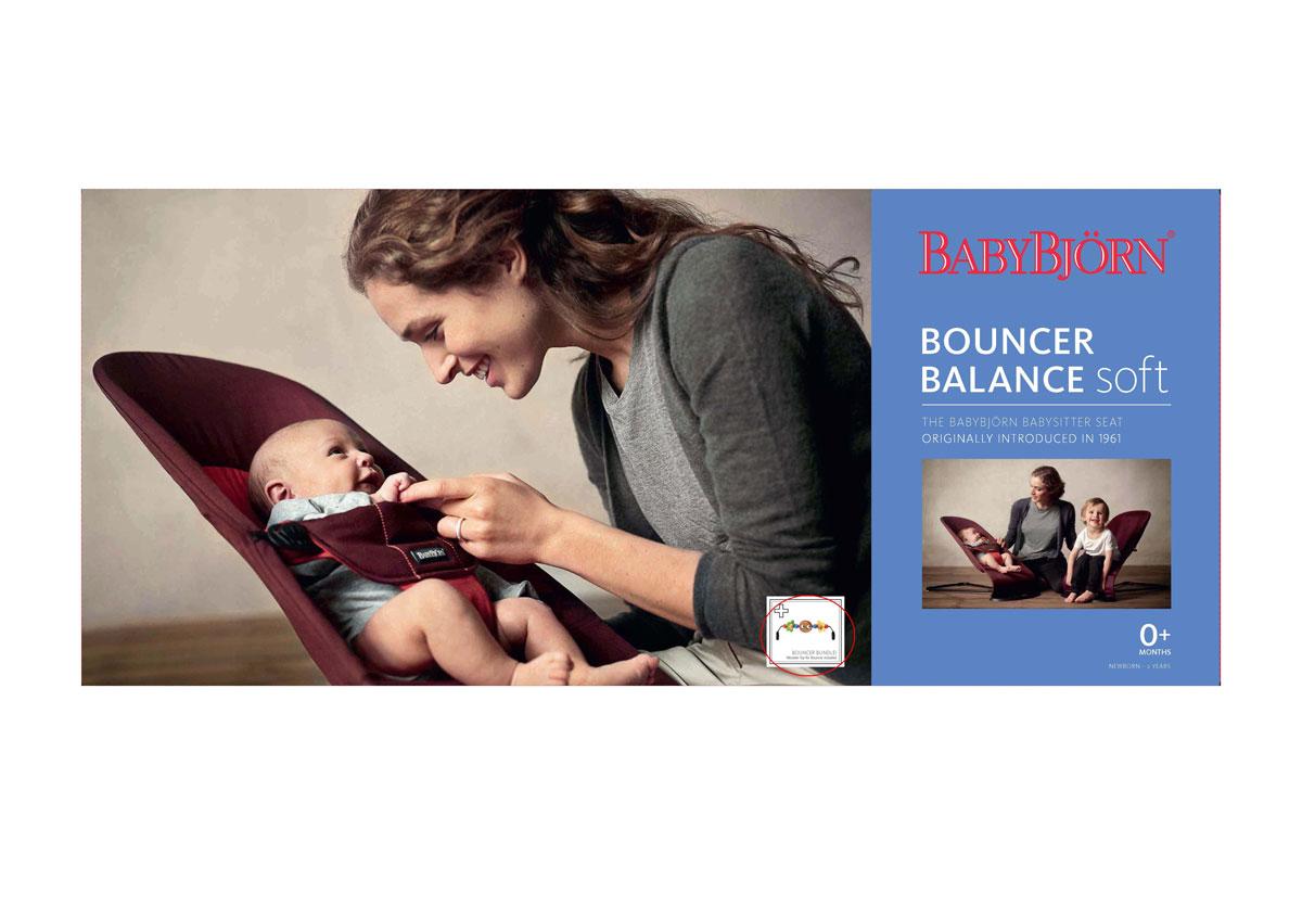 """Кресло-шезлонг Babybjorn """"Balance Soft"""", с игрушкой, цвет: черный, серый, 3,5-12 кг"""