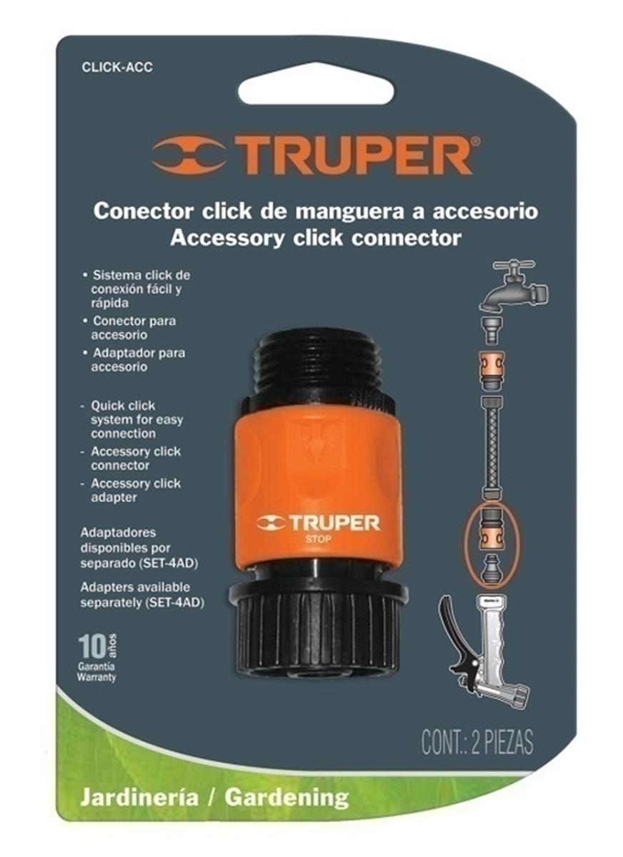 """Коннектор для шланга Truper, быстрозащелкивающийся, аквастоп, 3/4"""""""