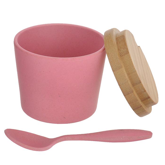 """Набор для специй Frybest """"Bamboo"""", сервировочный, цвет: розовый, 7 предметов"""