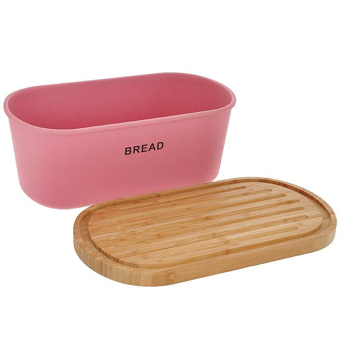 """Хлебница Frybest """"Bamboo"""", с разделочной доской, цвет: розовый. BM-01-2"""