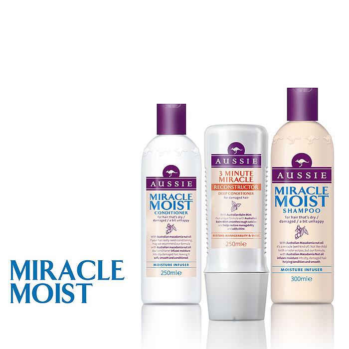 Aussie Шампунь Miracle Moist, для сухих и поврежденных волос, 300 мл