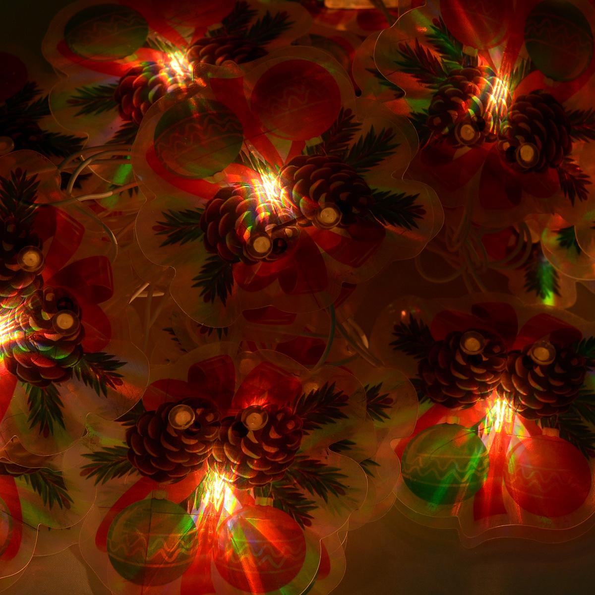 Гирлянда новогодняя, электрическая, 16 ламп, 2,5 м35343Новогодняя электрическая гирлянда Шарики украсит интерьер вашего дома или офиса в преддверии Нового года. Лампы выполнены в виде двух пластиковых пластинок с изображением елочной ветки с игрушками. Между пластинами располагается лампочка. Имеется тумблер переключения режимов мигания огней (8 режимов). Оригинальный дизайн и красочное исполнение создадут праздничное настроение. Откройте для себя удивительный мир сказок и грез. Почувствуйте волшебные минуты ожидания праздника, создайте новогоднее настроение вашим дорогим и близким. Работает от сети 220 В. Материал: ПВХ. Длина: 2,5 м. Количество ламп: 16 шт. Размер одного шарика: 7 см х 7 см х 2 см. Напряжение: 220 В. Мощность: 3,7 Вт.