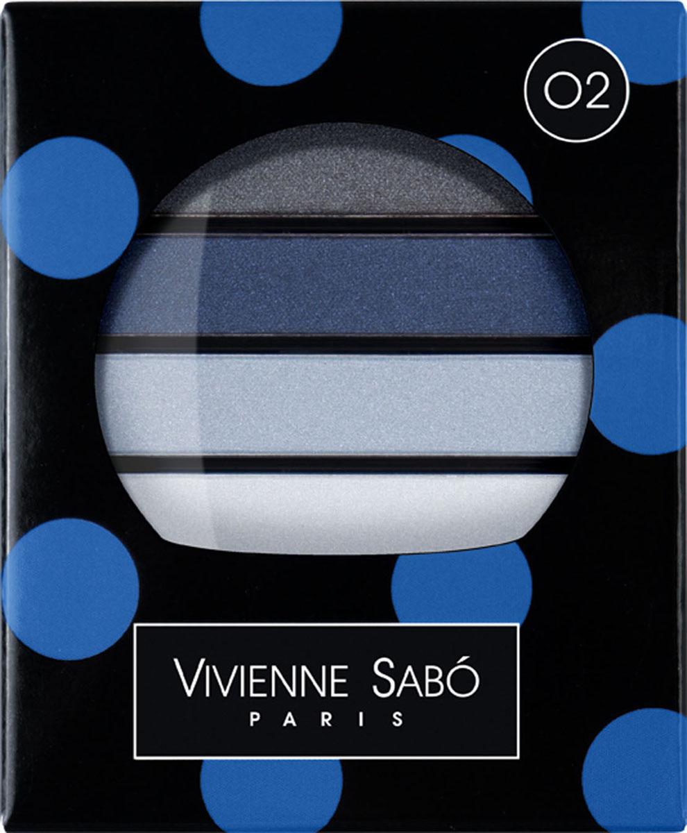 Vivienne Sabo Тени для век Quatre Nuances, 4 цвета, тон 02 Blue (Синий), 3,8 г