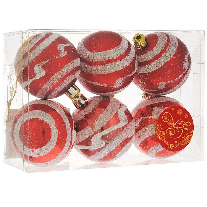"""Набор новогодних подвесных украшений """"Шар"""", цвет: красный, серебристый, диаметр 6 см, 6 шт. 35504"""
