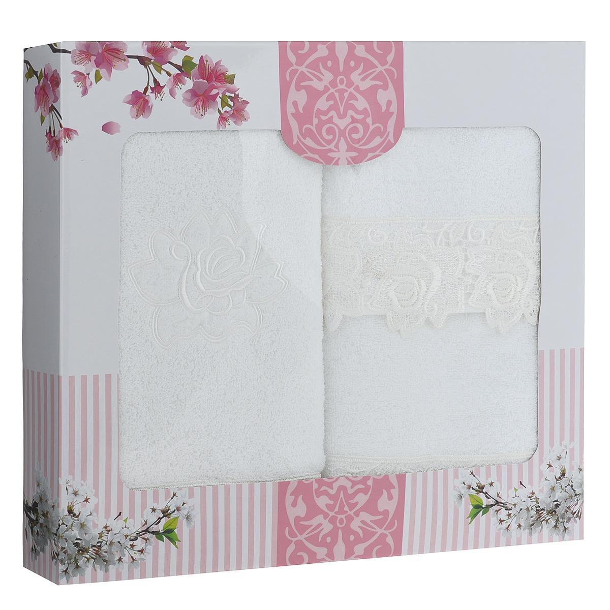 """Набор махровых полотенец """"Цветочный орнамент"""", цвет: белый, 3 шт"""