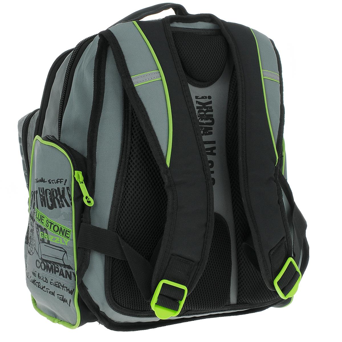 Рюкзак городской Grizzly, цвет: черный, серый. RU-433-2 ( RU-433-2 Рюкзак /4 черный - св.серый )