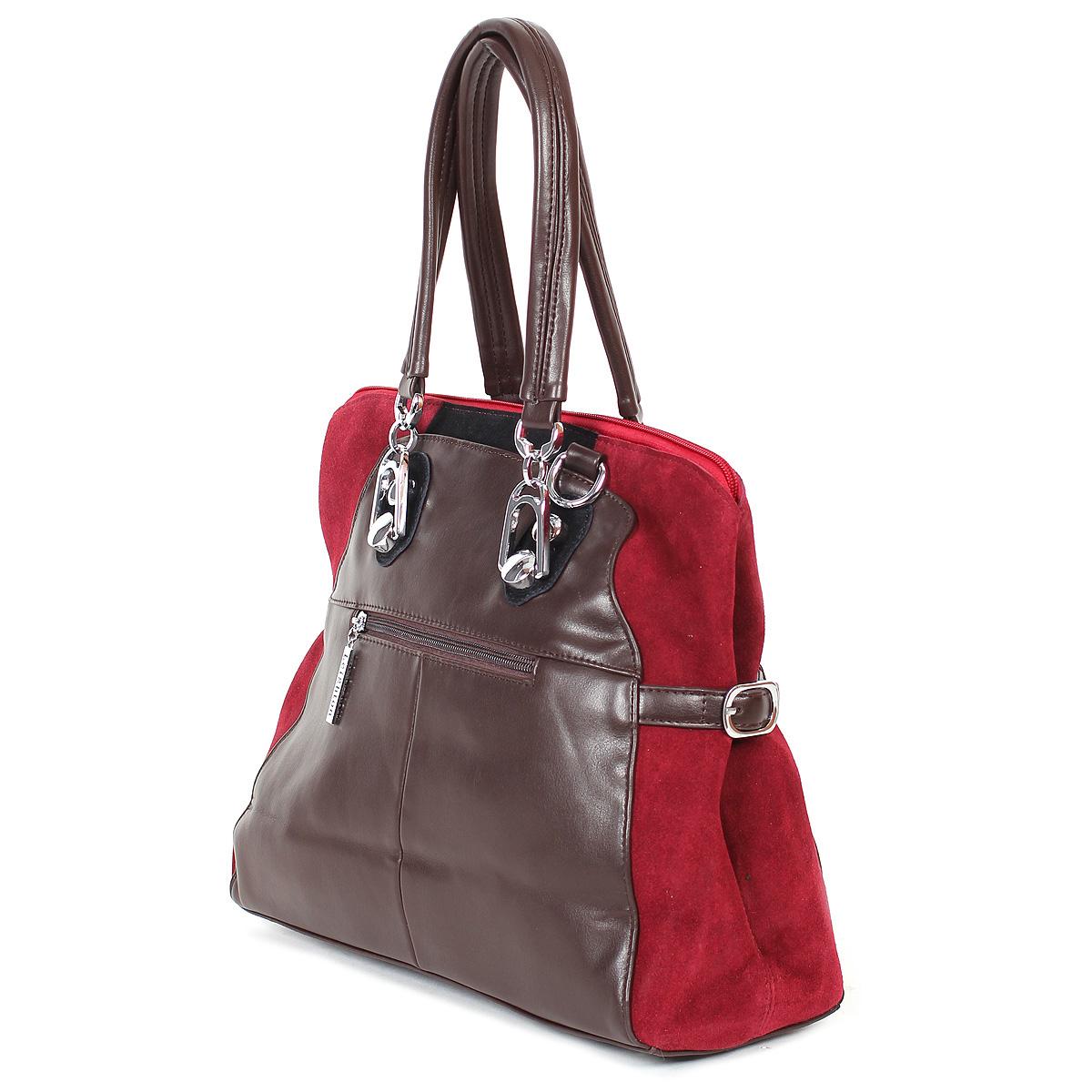 """Сумка женская """"Leighton"""", цвет: коричневый, бордовый, черный. 11090-1166/201/503/80 ( 11090-1166/201/503/80 )"""