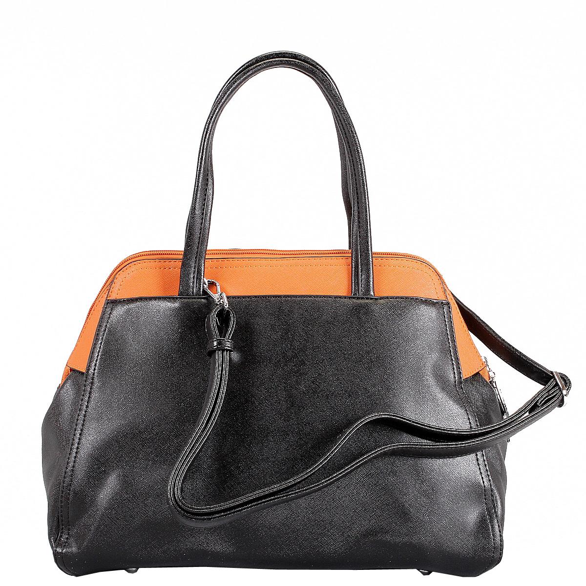 Сумка женская Leighton, цвет: черный, оранжевый. 62050-3769/1/3769/17 ( 62050-3769/1/3769/17 черн )