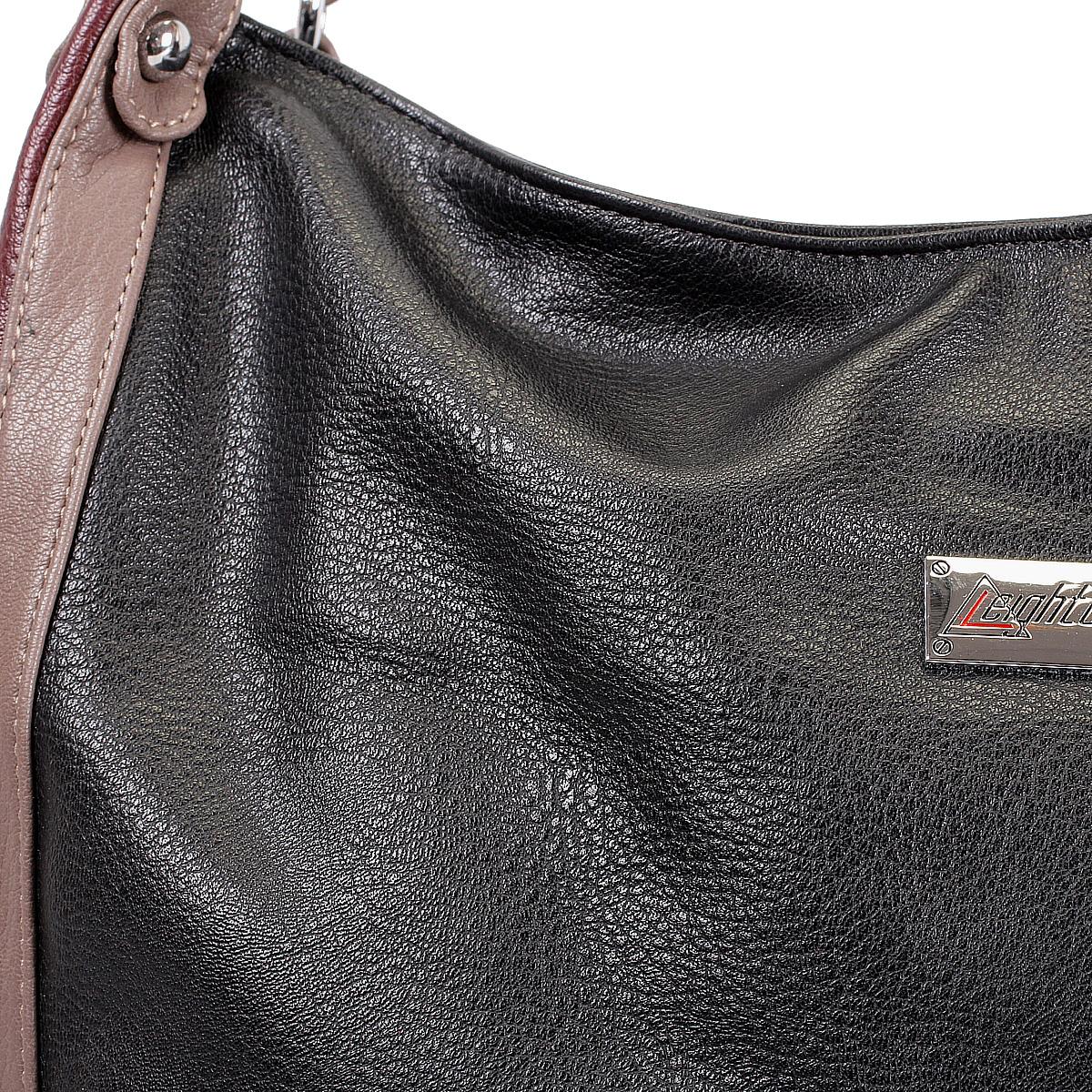 Сумка женская Leighton, цвет: черный, бордовый, светло-коричневый. 76602-149/149/3/149/8 ( 76602-149/149/3/149/8 )
