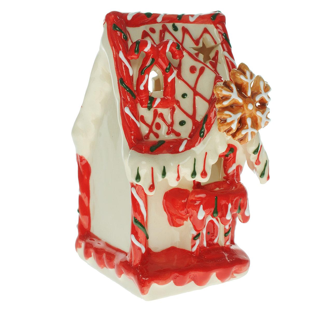 """Новогодний декоративный подсвечник House & Holder """"Домик"""", цвет: белый"""