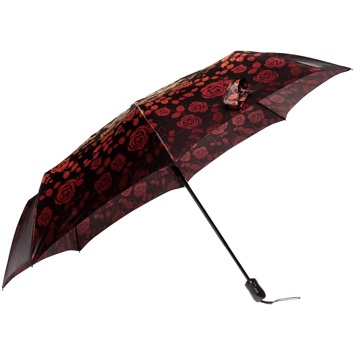 """Зонт женский Doppler """"Розы"""", автомат, 3 сложения, цвет: красно-оранжевый. 74660FGF ( 74660FGF )"""
