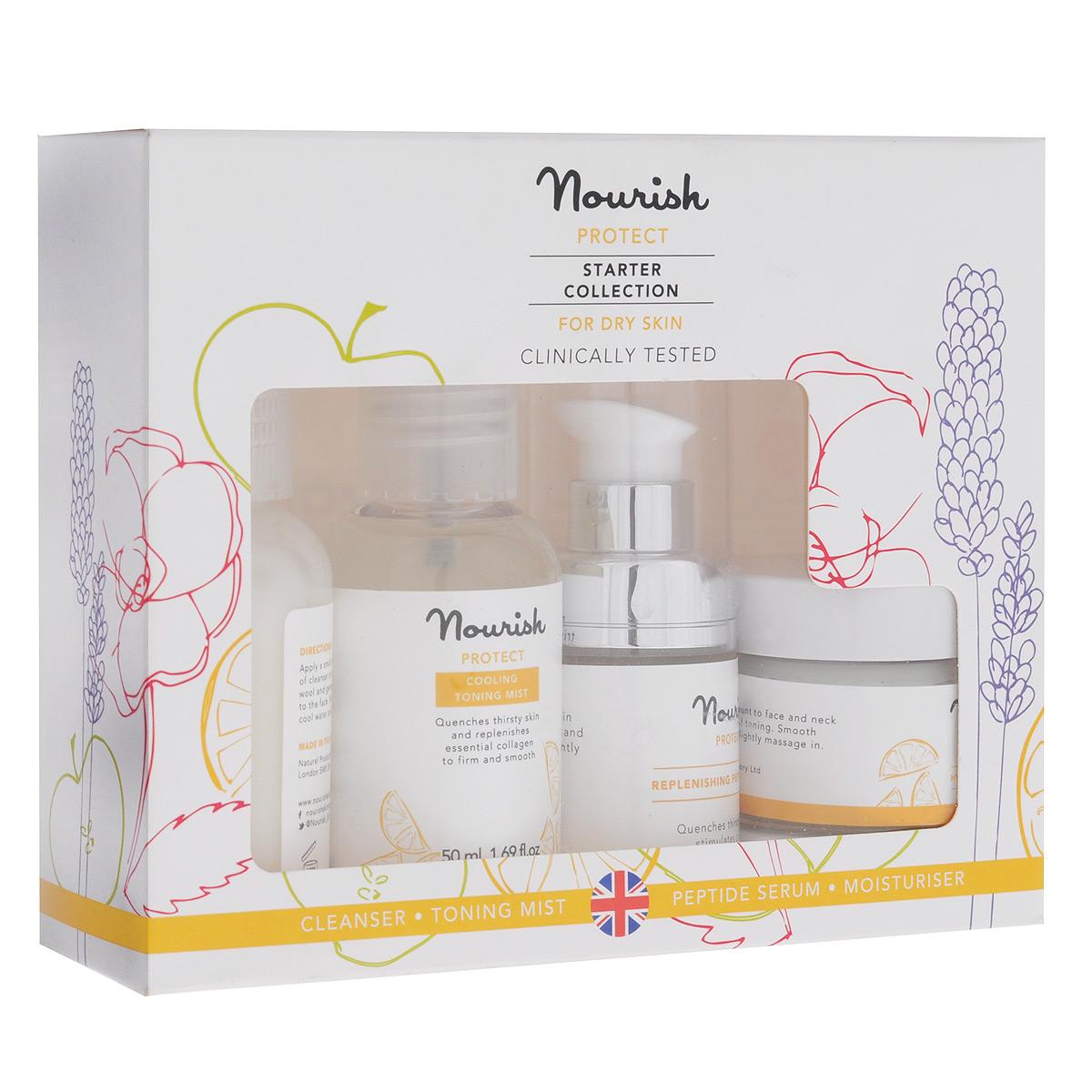 Nourish Набор миниатюр для ухода за лицом Protect, для сухой кожи: молочко, очищающее, тоник-мист, увлажняющий, крем для лица, увлажняющий, сыворотка для лица, питательная