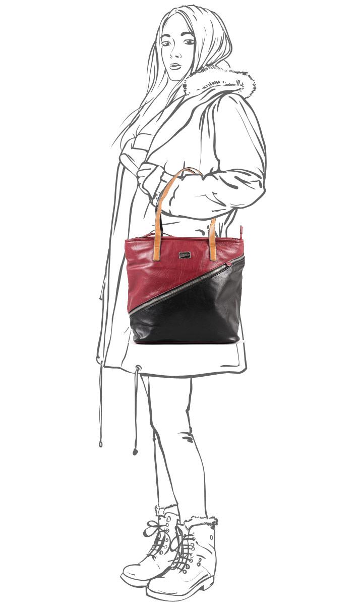 """Сумка женская """"Leighton"""", цвет: черный, бордовый. 570505-5590/292/46/292/26 ( 570505-5590/292/46/292/26 )"""