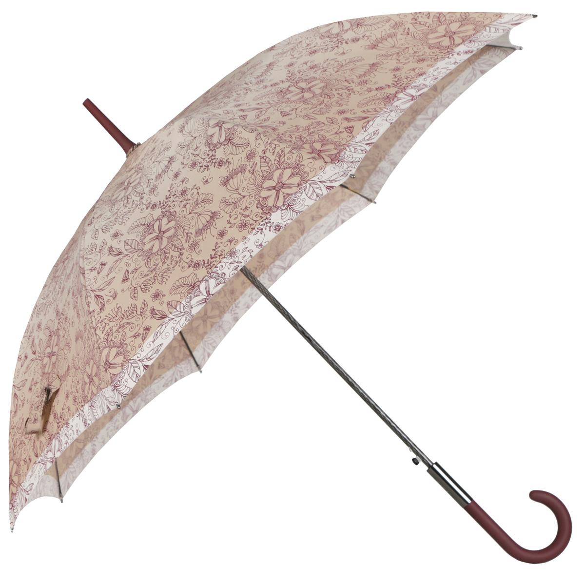 """Зонт-трость женский """"Zest"""", полуавтомат, цвет: темно-бежевый, бордовый, бежевый. 21629-1097 ( 21629-1097 )"""