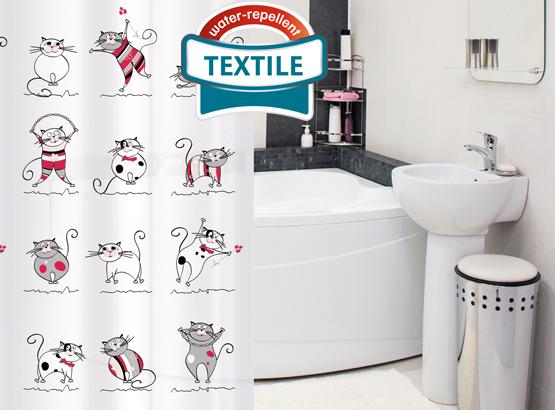 """Штора для ванной комнаты Tatkraft """"Funny Cats"""", 180х180 см, полиэстер"""