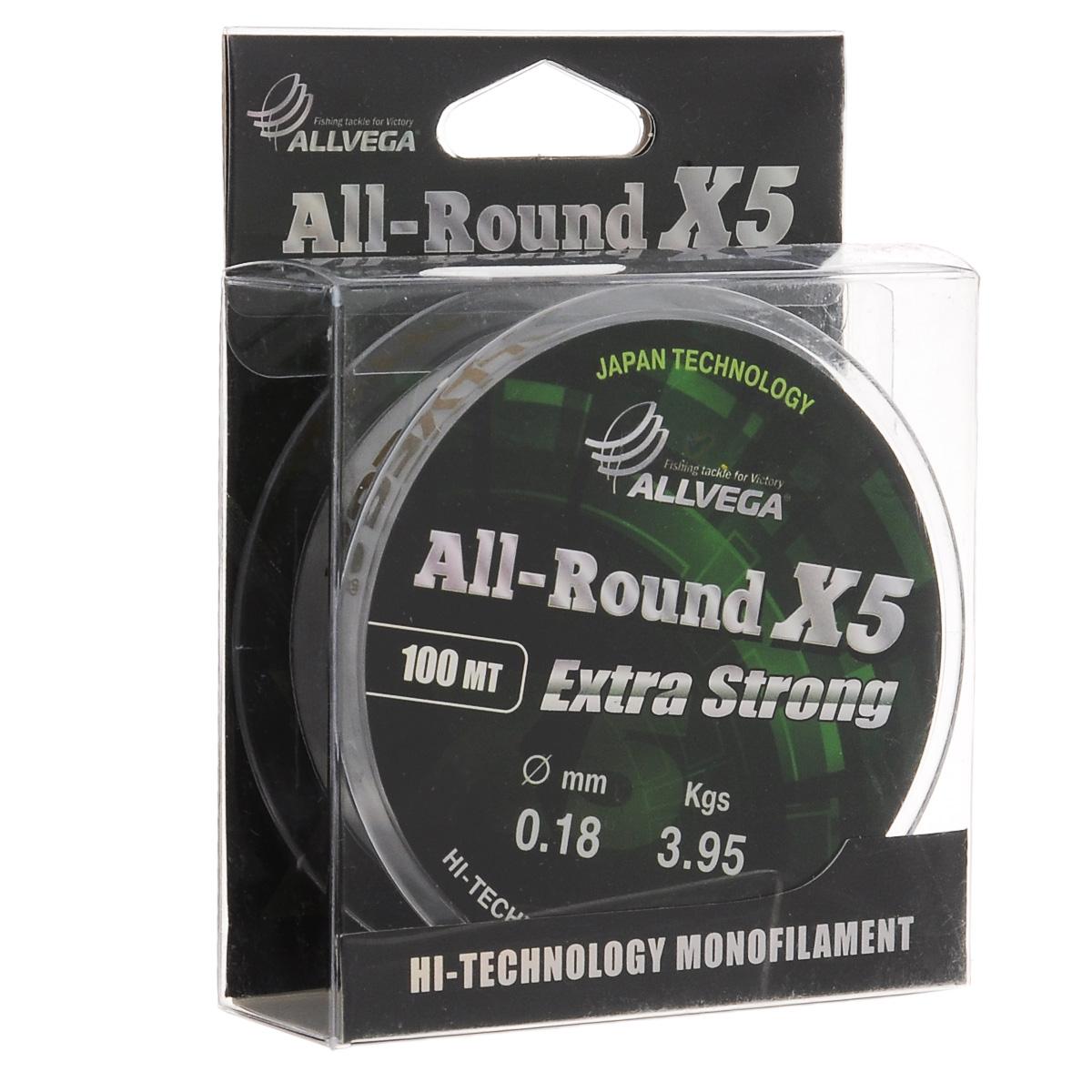 "Леска Allvega ""All-Round X5"", цвет: прозрачный, 100 м, 0,18 мм, 3,95 кг"