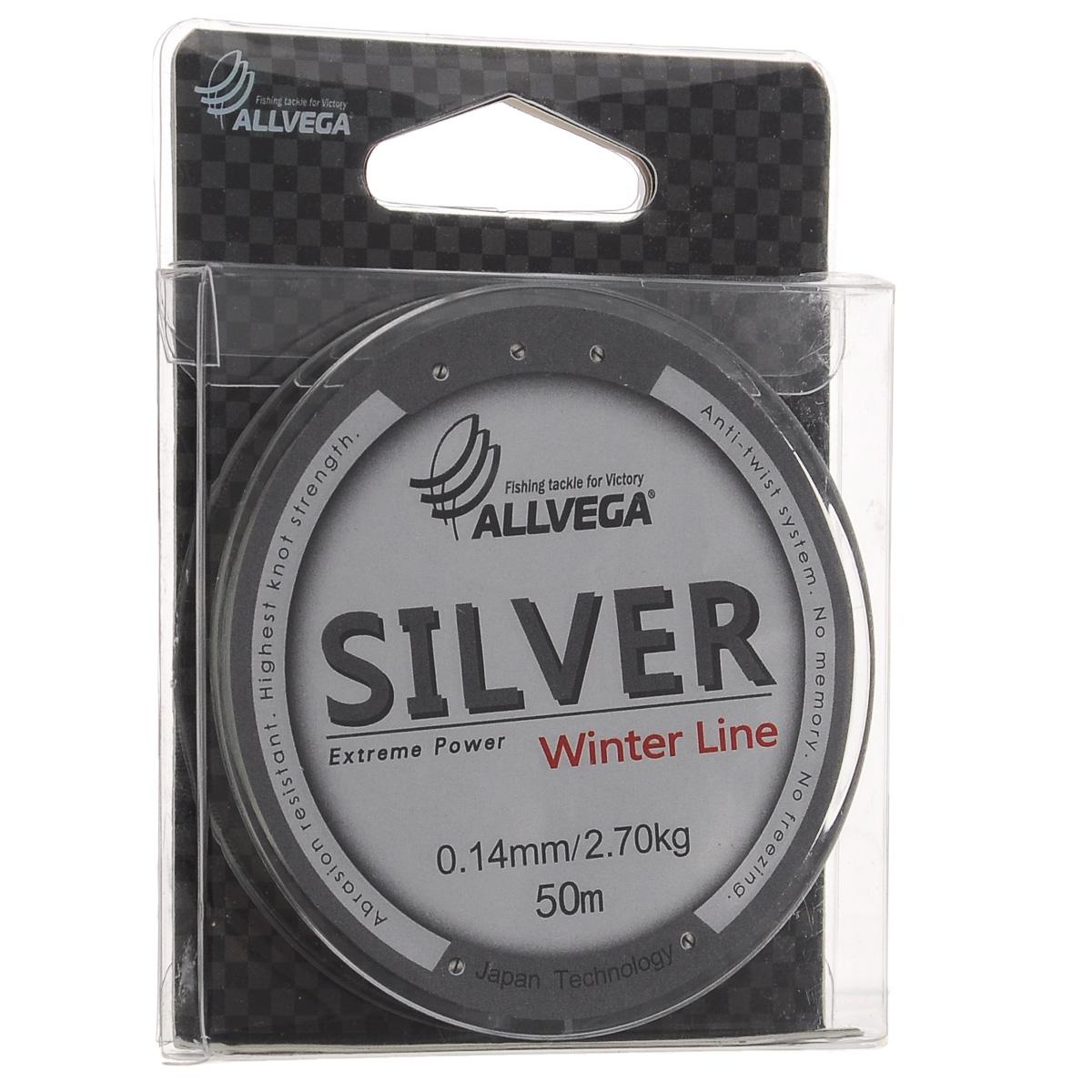 """Леска Allvega """"Silver"""", цвет: серебристый, 50 м, 0,14 мм, 2,7 кг"""
