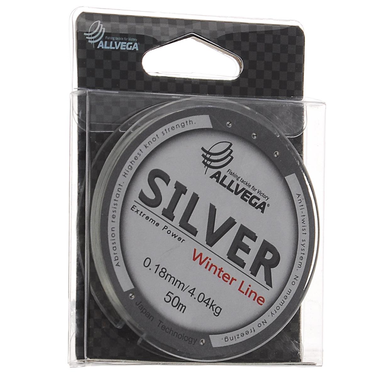 """Леска Allvega """"Silver"""", цвет: серебристый, 50 м, 0,18 мм, 4,04 кг"""