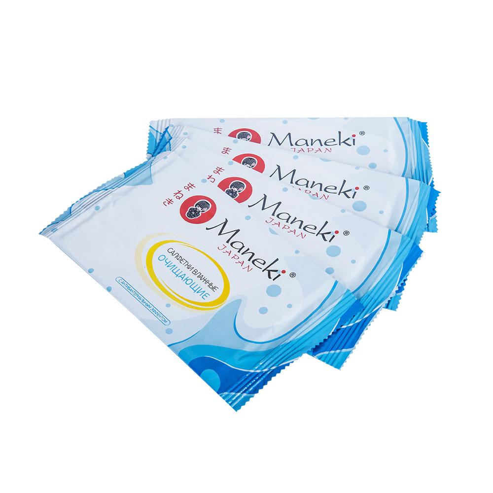 Maneki Салфетки влажные Kaiteki, очищающие с антибактериальным эффектом, в индивидуальной упаковке , 15 шт.