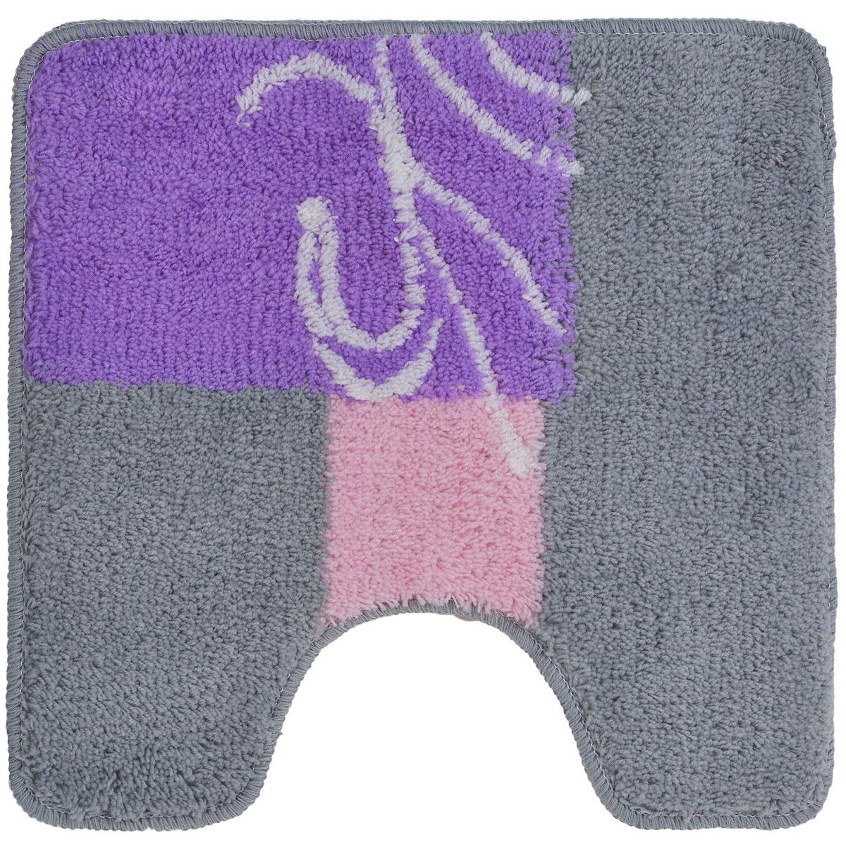 """Комплект ковриков для ванной и туалета """"Fresh Code"""", цвет: серый, розовый, 2 предмета"""
