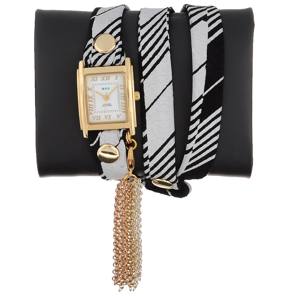 """Часы наручные женские La Mer Collections """"Charm Tassle Black: White Retro Stripe Print"""". LMTASSLE001D ( LMTASSLE001D )"""