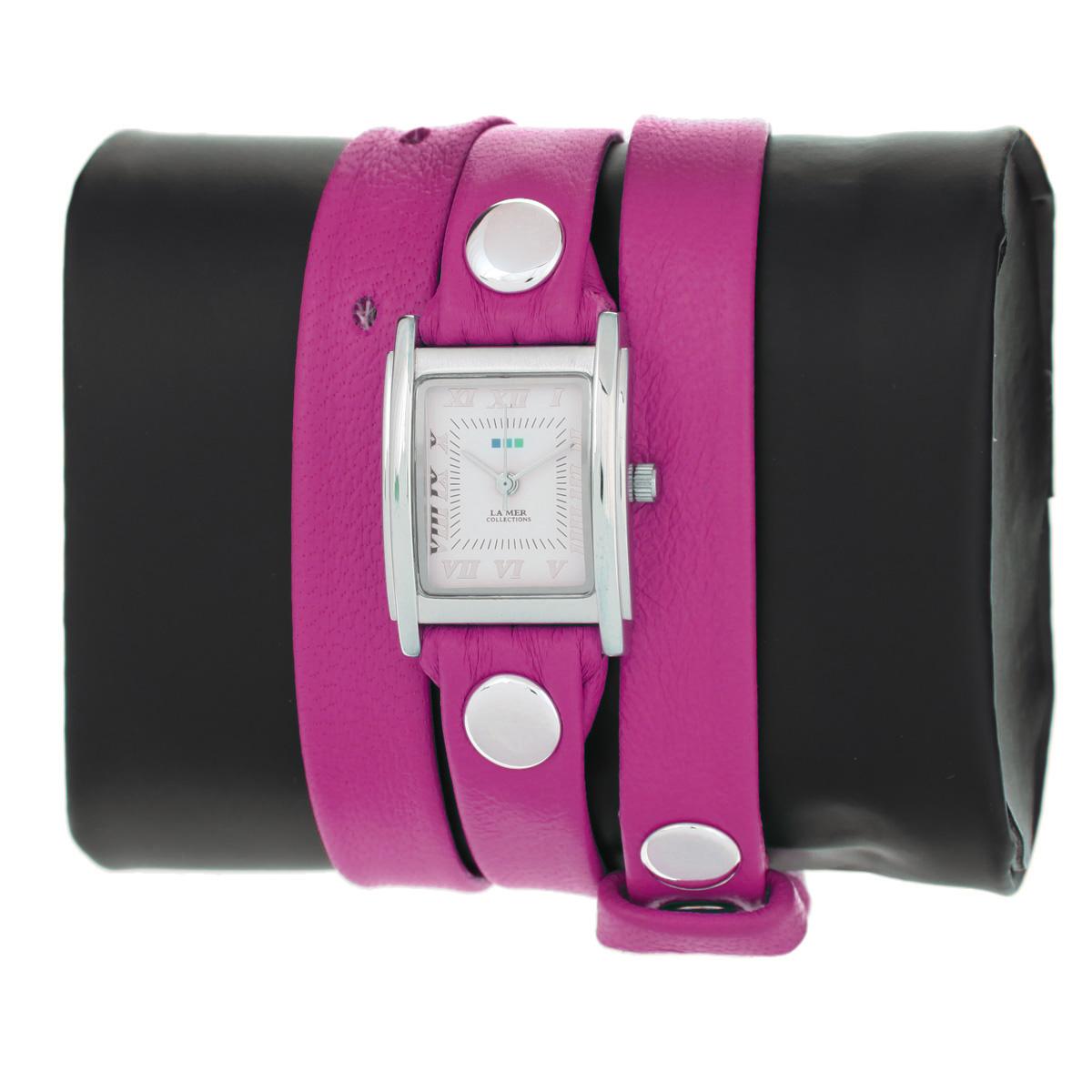"Часы наручные женские La Mer Collections ""Simple Hot Pink Patent/Silver"". LMSTW1001x ( LMSTW1001x )"