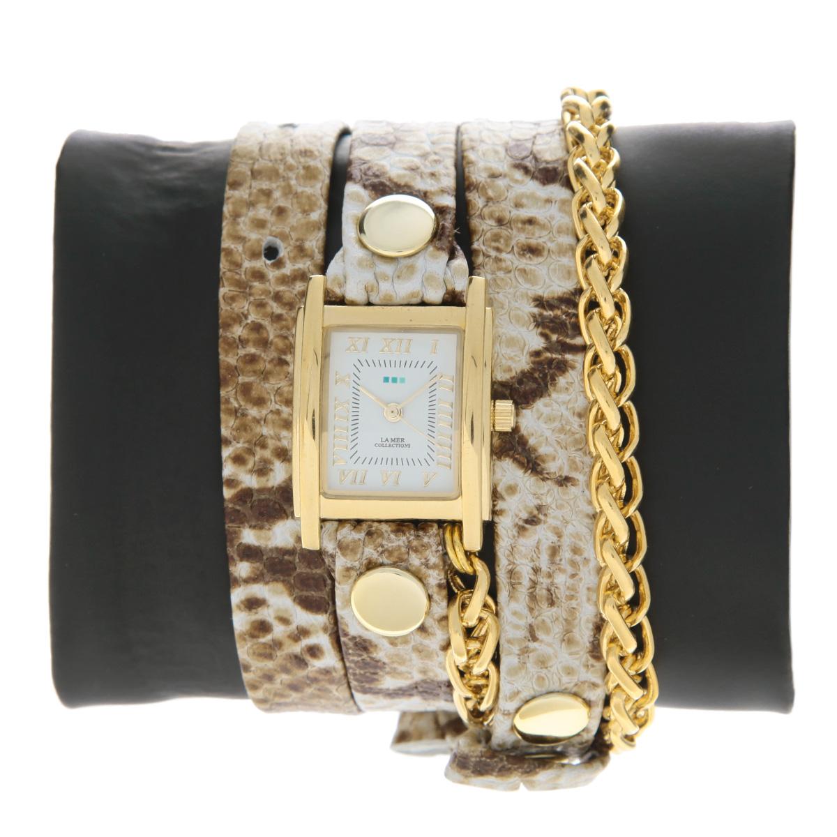 "Часы наручные женские La Mer Collections ""Chain Motor White Brown Snake Gold"". LMSCW2014x ( LMSCW2014x )"
