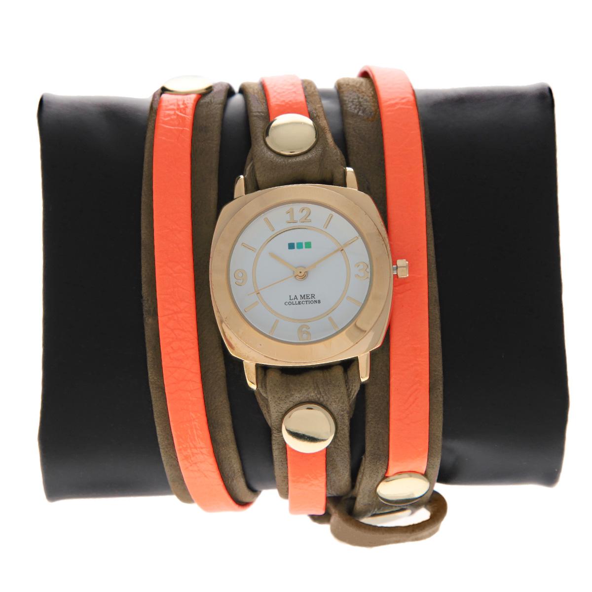 """Часы наручные женские La Mer Collections """"Layer Odyssey Mocha Neon Orange"""". LMODYLY1002x ( LMODYLY1002x )"""