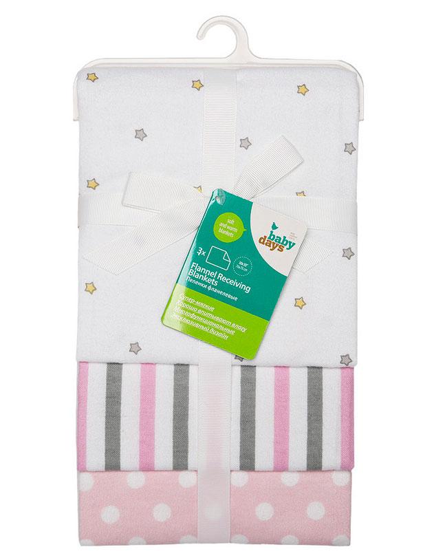 """Комплект фланелевых пеленок Babydays """"Звездочка"""", 76 см х 76 см, цвет: розовый, 3 шт"""