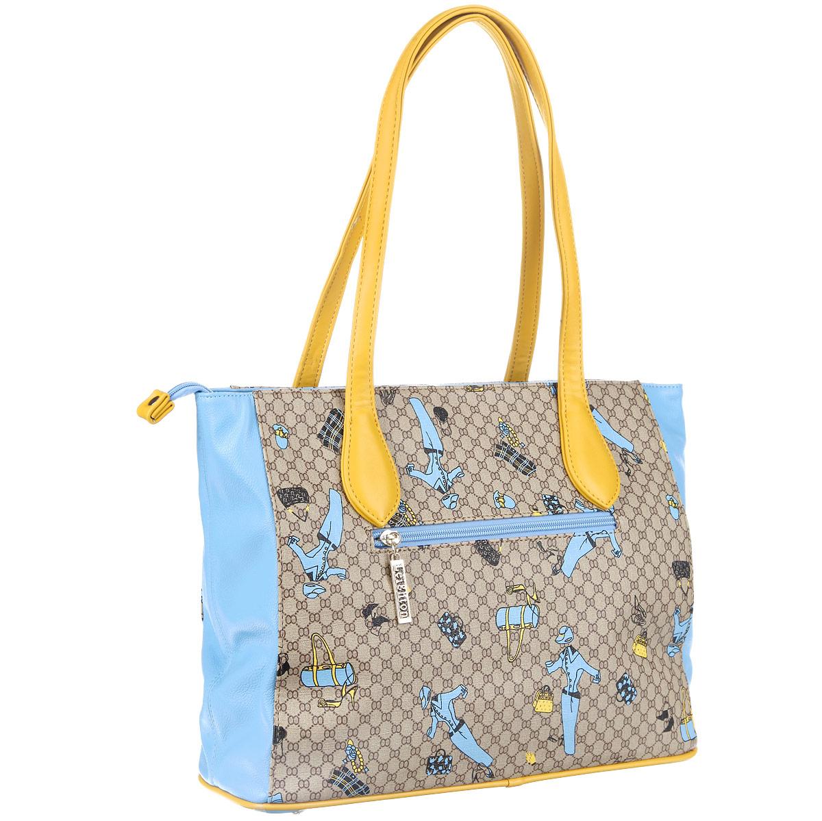 Сумка женская Leighton, цвет: бежевый, голубой. 570173-7027/2/1070/703/25 ( 570173-7027/2/1070/703/25 )