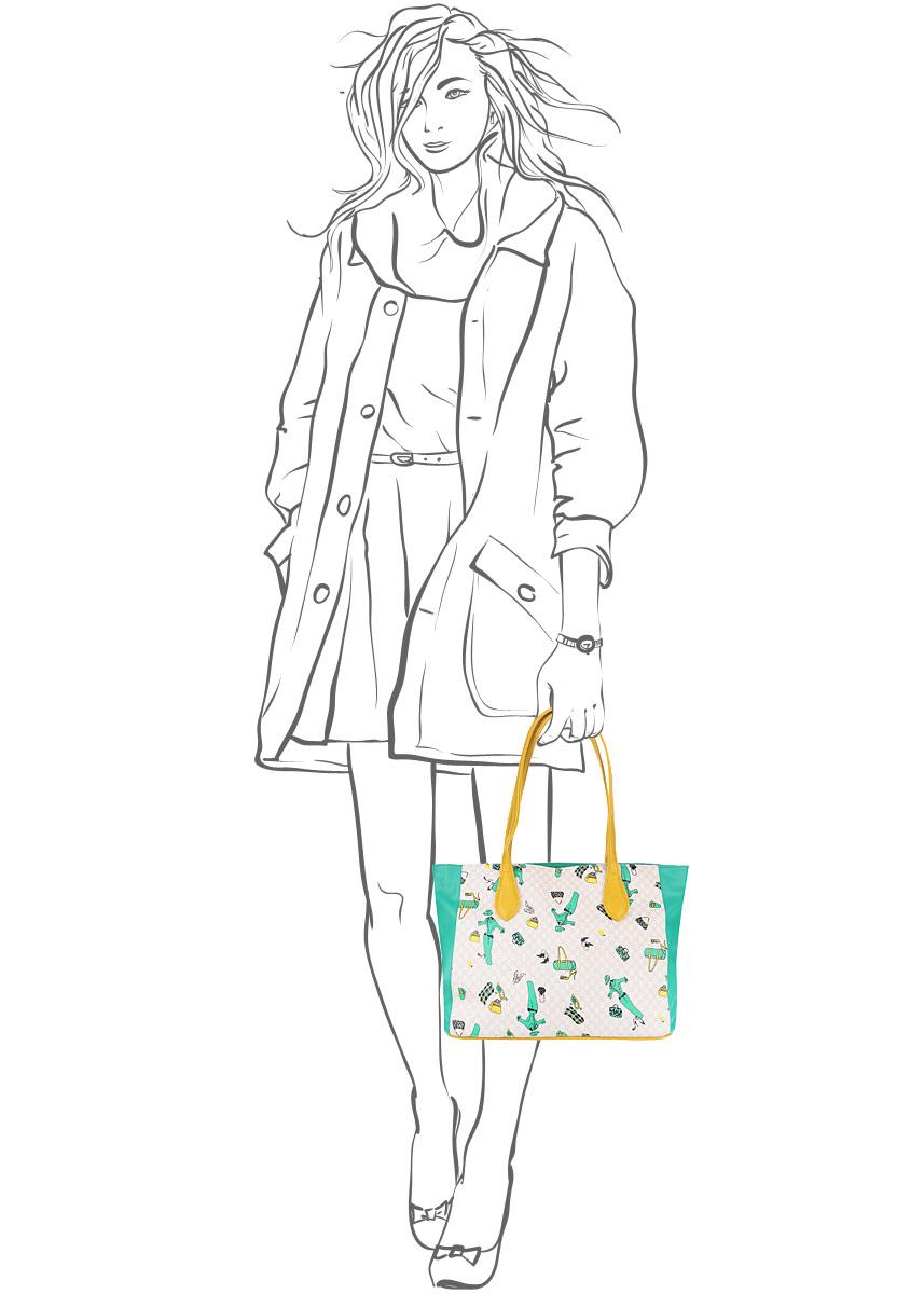 Сумка женская Leighton, цвет: бежевый, бирюзовый, желтый. 570173-7027/3/1070/502/25 ( 570173-7027/3/1070/502/25 )