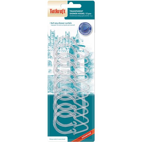 """Кольца из прозрачного пластика для шторок Tatkraft """"Olympic"""", 12 шт"""
