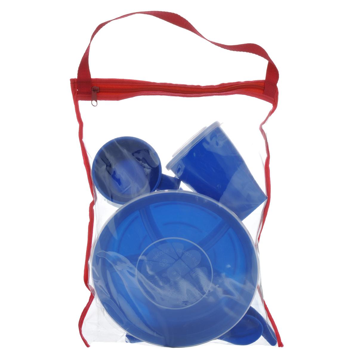 """Набор посуды Solaris """"Вахтовый метод"""", цвет: синий, на 1 персону"""