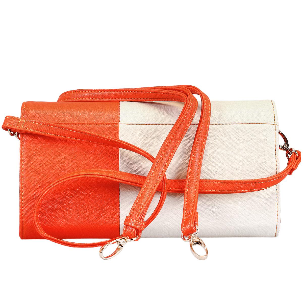 Сумка-клатч женская Leighton, цвет: молочный, оранжевый. 10656-3769 ( 10656-3769/23/3769/18 беж )