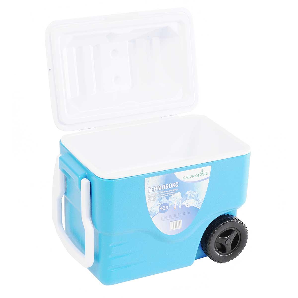 """Контейнер изотермический """"Green Glade"""", на колесиках, цвет: голубой, 42 л ( С22420 )"""