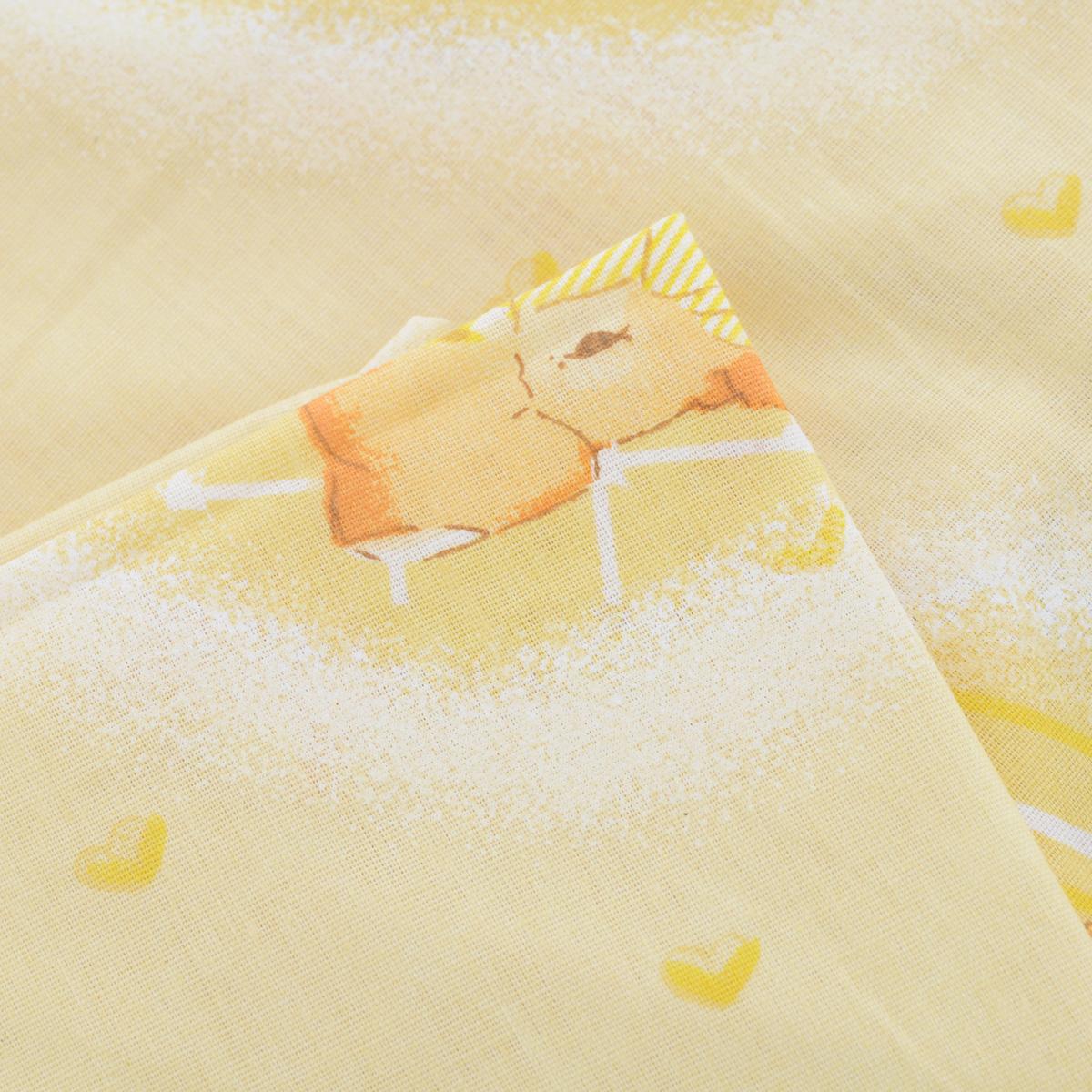 """Простыня на резинке Фея """"Мишки"""", цвет: желтый, 60 см х 120 см"""