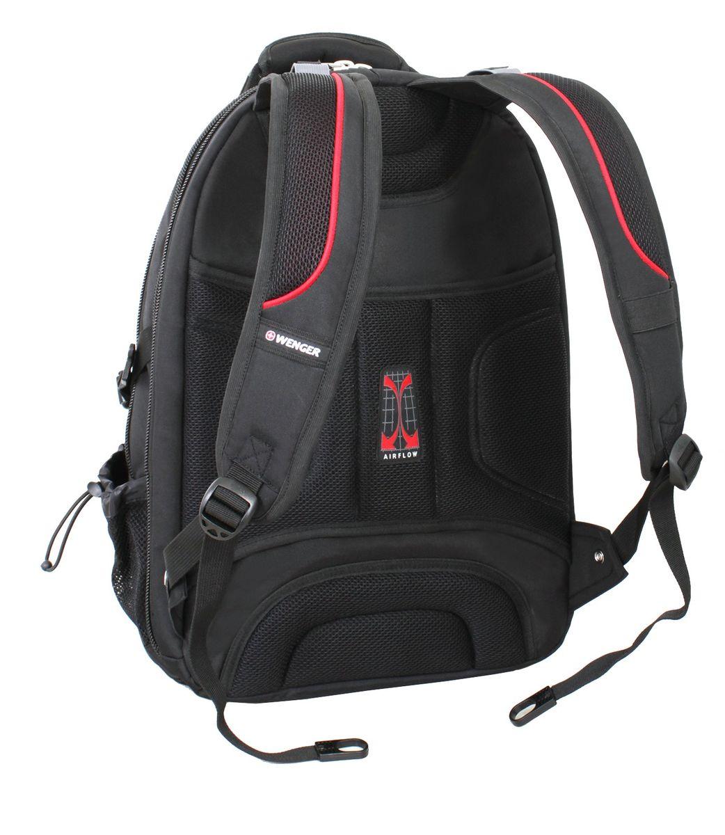 """Рюкзак городской """"Wenger"""", цвет: черный, красный, 34 см x 23 см x 48 см, 38 л"""