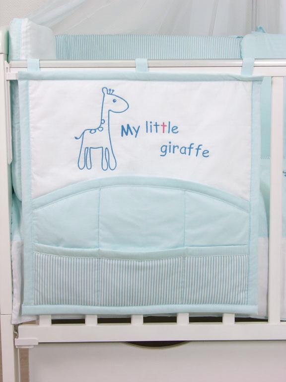 "Карман на кроватку Fairy ""Жирафик"", цвет: белый, голубой, 59 см х 60 см"
