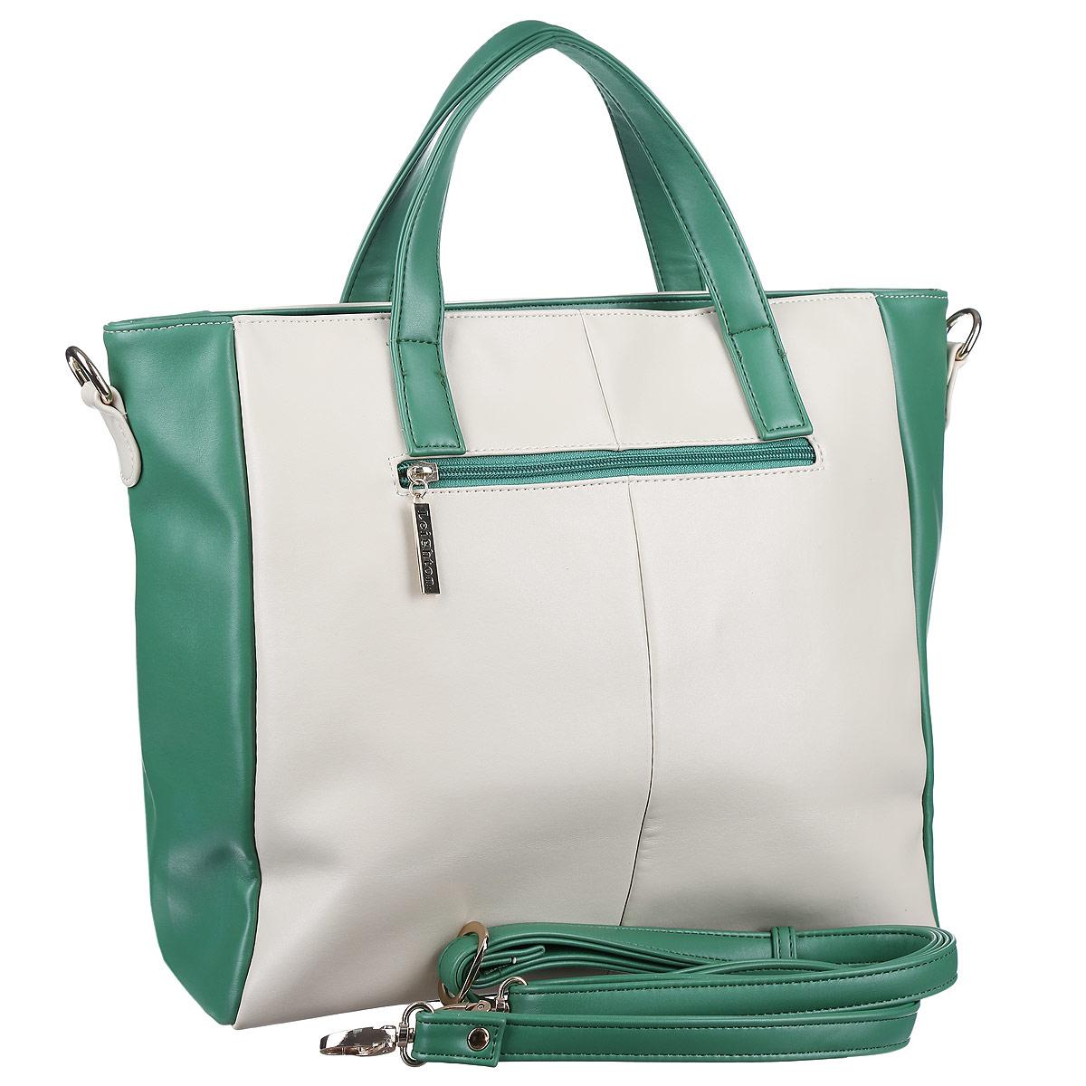 Сумка женская Leighton, цвет: молочный, зеленый. 10642-082 ( 10642-082/11/082/740 беж/ )