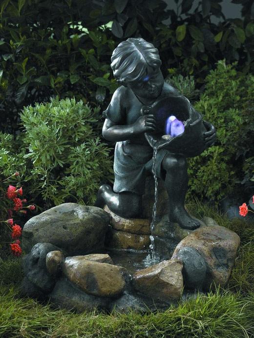 """Фонтан садовый декоративный Green Apple """"Девочка с рыбкой"""", 61 см х 56 см х 64 см"""